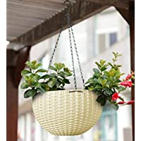 Young Crafts Hanging Planters Plastic Pots with Hanging Chains (Pack of 3)