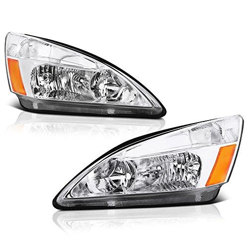 Honda Accord Rh Headlamp Light - VIPMOTOZ Chrome Housing OE-Style Headlight Headlamp Assembly For 2003-2007 Honda Accord, Driver & Passenger Side