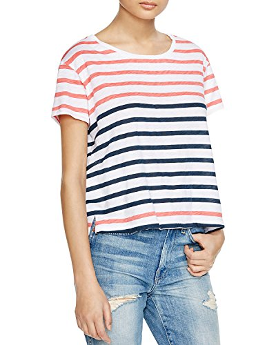 Sundry Women's Color Block Stripe Tee in Hibiscus Denim (Blue/Orange/White) Size 3 / Large