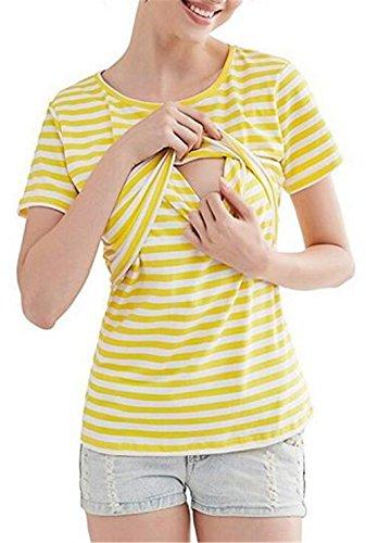 Manica A Elastico Shirt HOOMOLO Morbidi T Camicetta Elegante Infermieristica T L'Allattamento Corta Righe Top Sottile Maglietta Breastfeeding Shirts Girocollo Donna Ywllow 5qIHIv