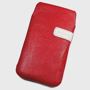 Funda de protección de piel sintética para Logicom S450, talla XXL, color rojo
