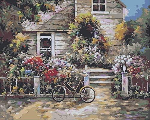 数字油絵 数字キット塗り絵 手塗り DIY絵 デジタル油絵 ドアバイク 3ブラシホーム オフィス装飾 40 x 50 CM (フレームレス)