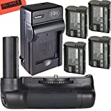 Ultra High Power Battery Grip Kit for Nikon D7500 Digital SLR Camera - Includes Qty 4 BM Premium EN-EL15 Batteries + Rapid AC/Dc Battery Charger + Vertical Battery Grip