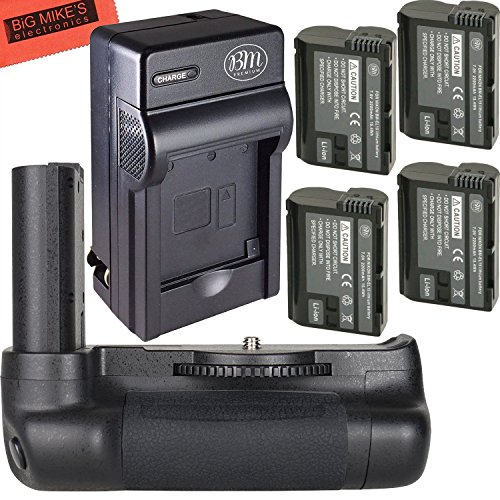 Ultra High Power Battery Grip Kit for Nikon D7500 Digital SLR Camera – Includes Qty 4 BM Premium EN-EL15 Batteries + Rapid AC/Dc Battery Charger + Vertical Battery Grip