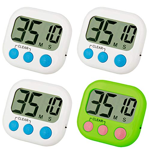 FOREV Kitchen Timer 4 Pack Small Digital Electronic Loud Alarm, Magnetic Backing, ON/OFF Switch, Minute Second Countdown, White, Blue and Orange (3 White & 1 Green) ()