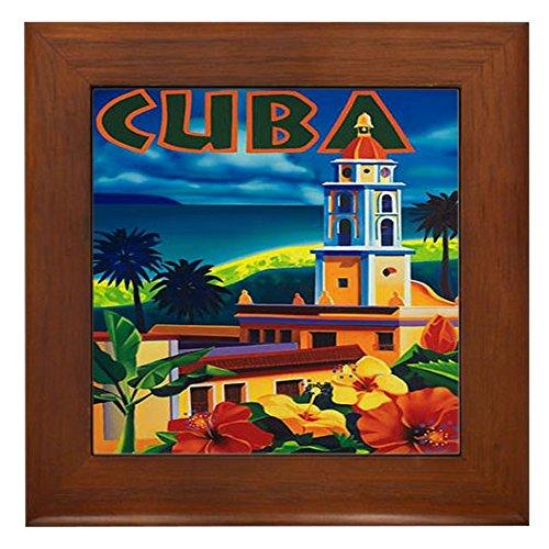 Wall Art Framed Tile - CafePress - Cuba Vintage Travel Art Framed Tile - Framed Tile, Decorative Tile Wall Hanging