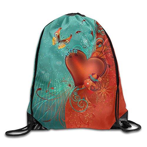 Love Heart Clipart Background Drawstring Bags Portable Backpack Travel Sport Gym Bag Yoga Runner Daypack Shoe Bags -
