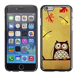 FECELL CITY // Duro Aluminio Pegatina PC Caso decorativo Funda Carcasa de Protección para Apple Iphone 6 Plus 5.5 // Teacher Smart Autumn Drawing Bird