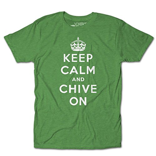 CHIVE TEES Mens Official Keep Calm and Chive On T-Shirt Large Kelly Green