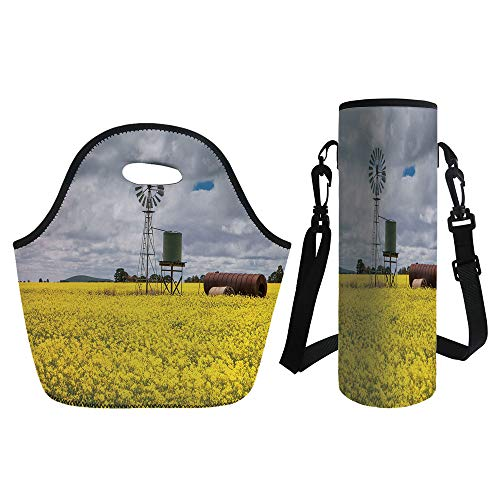 3D Print Neoprene lunch Bag with Kit Neoprene Bottle Cover,Windmill Decor,Canola Meadow Stormy Day Victorian Goldfields Agricultural Farmland Decorative,Yellow Grey White,for Adults Kids ()