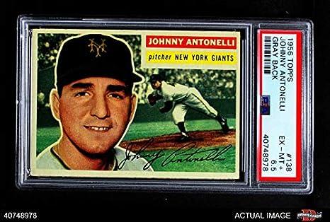 9822a60c6 1956 Topps   138 GRY Johnny Antonelli New York Giants (Baseball Card) (Grey