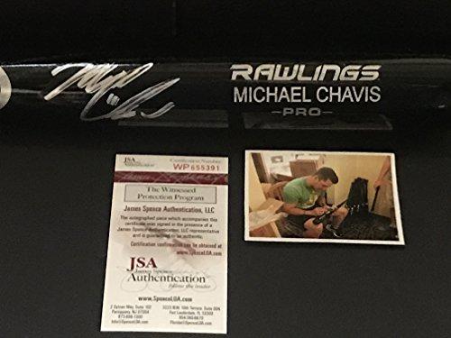 Michael Chavis Boston Red Sox Autographed Signed Black Baseball Bat JSA WITNESS COA