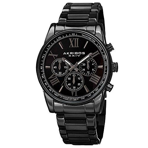 Akribos Multifunction Stainless Steel Chronograph Watch - 3 Sub-Dials Complications Quartz - Men
