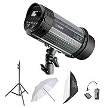 Neewer 300W Studio Strobe Flash Photography Lighting Kit:(1)Monolight,(1)6.5 Feet Light Stand,(1)Softbox,(1)RT-16 Wireless Trigger Set,(1)33 Inches Umbrella for Video Location and Portrait Shooting