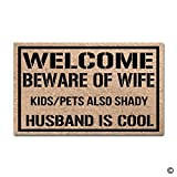 MsMr Funny Doormat - Welcome Beware Of Wife Indoor Outdoor Doormat Deal