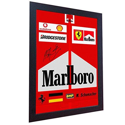 S&E DESING Michael Schumacher Racing Suit Signed Printed Canvas 100% Cotton Autograph Framed