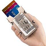 Aluminum Slim Wallet Front Pocket Wallet & Money Clip Minimalist Wallet RFID Blocking Golden