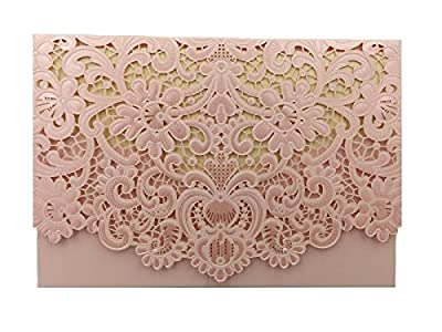 Patty Delicate Laser Cut Floral Wedding Invitation Cards for Party, Wedding, Birthday, Bridal Shower -- Set of 50 Pcs (Pink)