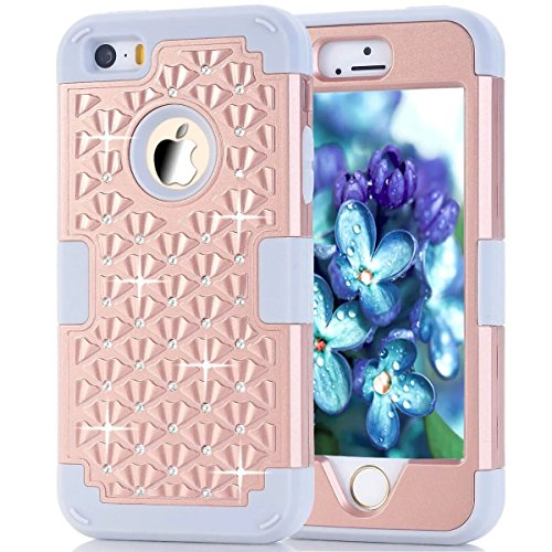 Shockproof Armor Case for Apple iPhone SE/5S/5 (Crystal/Gold) - 2
