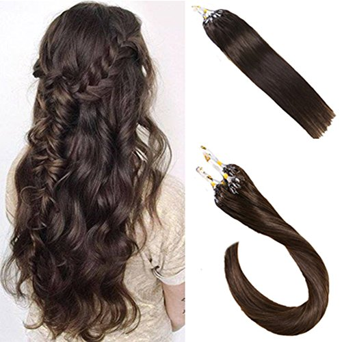 LaaVoo Remy Hair Short 14 inch #2 Brown Extensions Real Human Hair Microbead Extensions 1g/strand 50g/pack