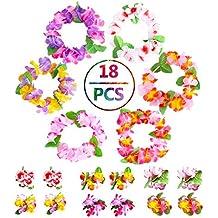 SPIEL Tropical Hawaiian Lei Headband Bracelet - 18 pcs Hawaiian Luau Flower Lei for Theme Party Favors Wreaths Headbands Holiday Wedding Beach Birthday Decorations, Colorful, 6 Sets