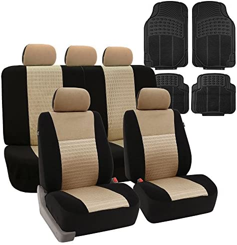 FH Group Combo Set: FB060112 Trendy Elegance Full Set Car Seat Covers,Beige/Black Color (Airbag Compatible & Split Bench) + F11305 All Weather Heavy Duty Black Floor Mats