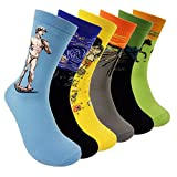 Funny Mens Dress Socks - HZYMS Art Patterted Carzy Famous Painting Socks 6 Pack Cotton Fun Crew Socks (Art Pattern 6packs)Mens 6-11; Womens 7-12