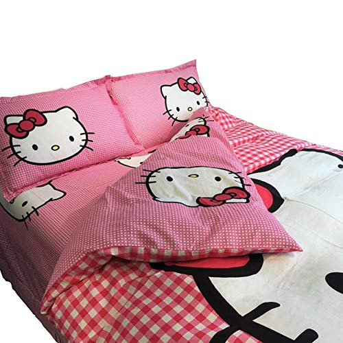 HOLY HOME Hello Kitty, Girls' Birthday Gift Duvet Cover Set Twin Size 70x86inches Rose Red, 4pcs