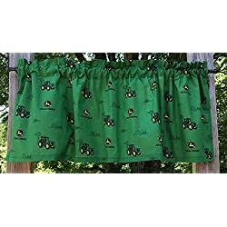 Handcrafted Cotton Curtain Valance Sewn From John Deere Tractor Green Cotton Fabric t4/19