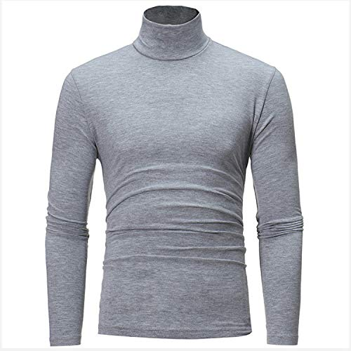 2019 New Men's Sweater Men's Turtleneck Solid Color Casual Sweater Men's Slim Fit Brand Knitted Pullovers m 3XL,Light Grey,XXXL (Small Case For Small Items Crossword Clue)