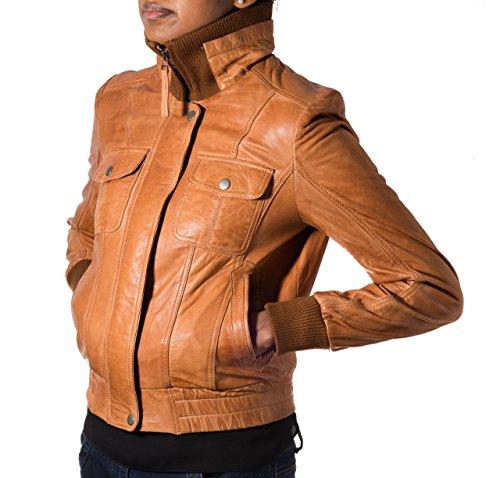 Leather Popper Nuevas To Z Cuello Cierre Punto Mujeres Cuero Botones Chaqueta Las Tan De Bombardero A Acanalado Suave A4EnWTqA