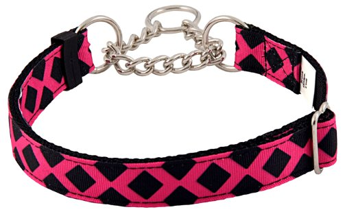 Country Brook Design Fabulous Lattice Grosgrain Ribbon Half Check Dog Collar - Medium