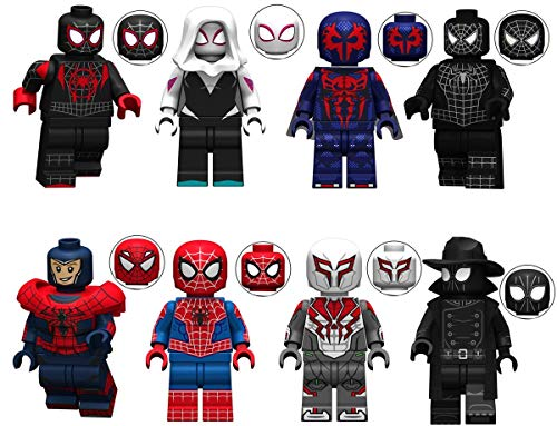 8 Spiders Super Heroes Building Blocks Action Figures - Super Hero Minifigures Set with Accessories - Bricks Action Figures Toy