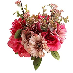 ENCOCO Wedding Bouquet Bride Bridal Bouquets Artificial Rose Flowers Fake Flowers for Home Garden Party Wedding Decoration 40
