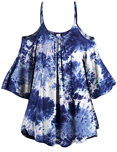 3/4 Sleeve Navy Tie Dye Cold Shoulder Tunic Tops