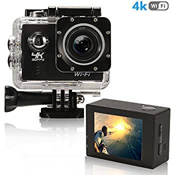 Action Camera 4K Ultra HD WiFi Best Video Sports Camera for Sports 16MP 170 Degree Wide Angle 2.0 Inch Waterproof Diving Camera with 2 Batteries and 19 ...