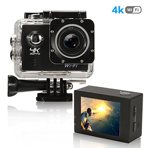 Action Camera 4K Ultra HD WiFi Best Video Sports Camera for Sports 16MP 170 Degree Wide Angle 2.0 Inch Waterproof Diving Camera with 2 Batteries and 19 Accessories Kit Included Black