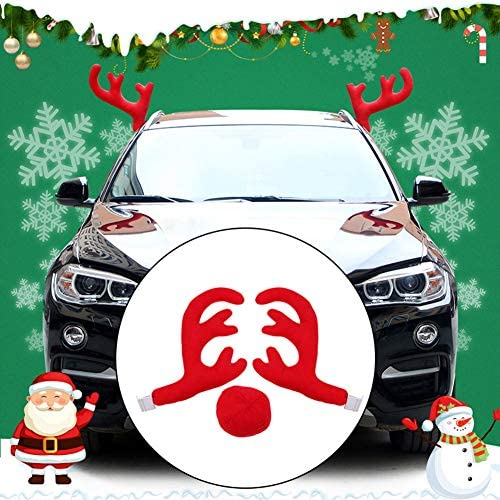 Rudolf Red Nose Elk Moose Holiday Xmas Decoration for Car Truck Glumes Christmas Reindeer Antler and Nose Vehicle Costume Red