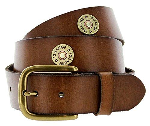 (Hagora Men Full Grain Leather Shotgun Shell Concho 1-1/2