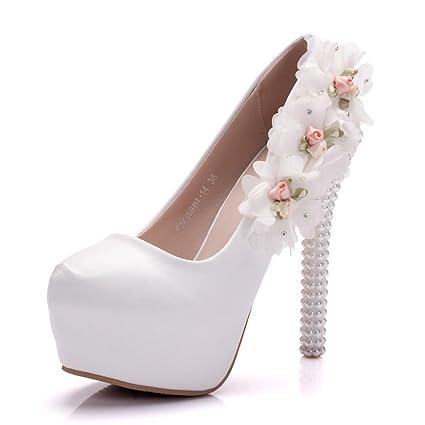 c509f3f2404 NVXIE Boda Nupcial Zapatos Mujer Zapatillas Cerrado Dedo del pie Plataforma  Alto Tacón Blanco Cuero Flores