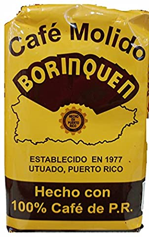 Cafe Molido Borinquen Pure Ground Coffee From Puerto Rico Mountains 8 Ounce Bag 1 Pack - Includes 2 Envelopes of Sason Accent - 8 Ounce Cafe Mug