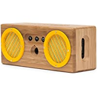 BONGO Bluetooth Wood Portable Speaker | Handcrafted Retro Bamboo Wireless Design | For Travel, Home, Beach, Kitchen, Outdoors | Enhanced Bass with Dual Passive Subwoofers | Yellow