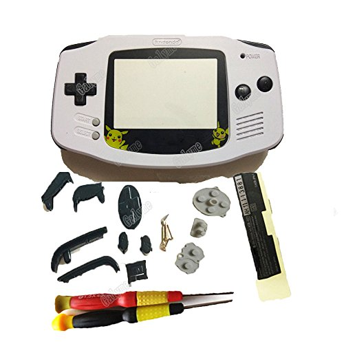 Hot Sale Pikachu Lens White Color Shell Black Keypads Repair Housing Case Boy Game Console Fit Gameboy Advance GBA Kids Gifts (with screwdrivers)