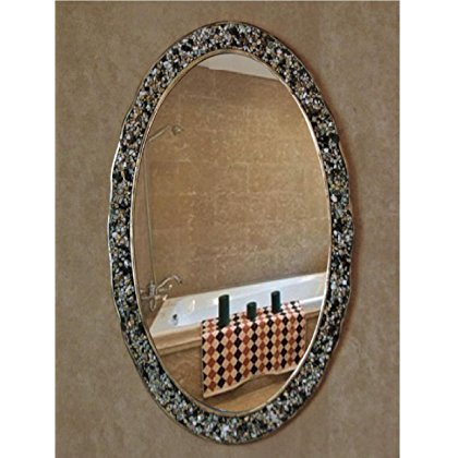 European Mirror Oval Wall Mirror Mediterranean Mirror Stone Decorative Mirror Bathroom Bathroom Mirror Pure Handmade Frame 44 64 3cm Mirror 33 53cm?OY-614?