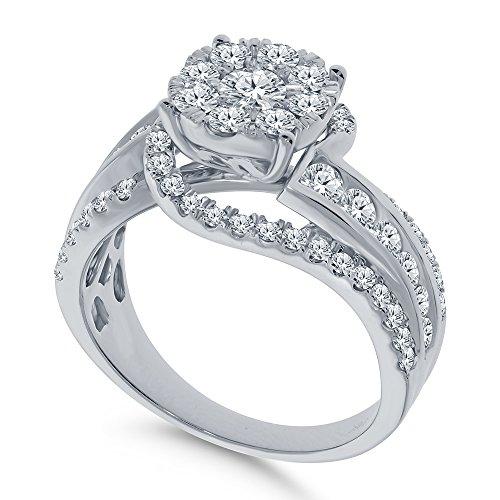 Real Diamond Engagement Ring 14K White Gold 1.65 TCW Center .16 Carat Diamond Ring Fine Diamond Jewelry by Wholesale Diamonds (Image #1)