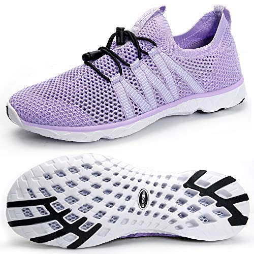 (SUOKENI Women's Quick Drying Slip On Water Shoes for Beach or Water Sports Purple)