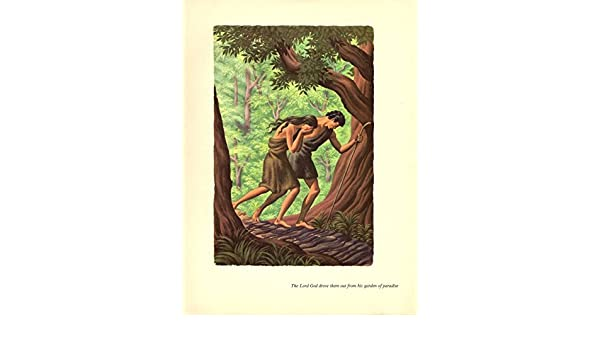 """1956 Vintage BIBLE /""""ADAM /& EVE SENT OUT GARDEN of EDEN/"""" STEELE SAVAGE Lithograph"""