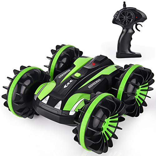 GotechoD RC Car Boat Remote Control Car Boat Amphibious Stunt Car 4WD Off Road 2.4GHz Radio Controlled Monster Truck High Speed Double Side Race Car 360 Degree Spins and Flips Green - Controlled Games Radio Car