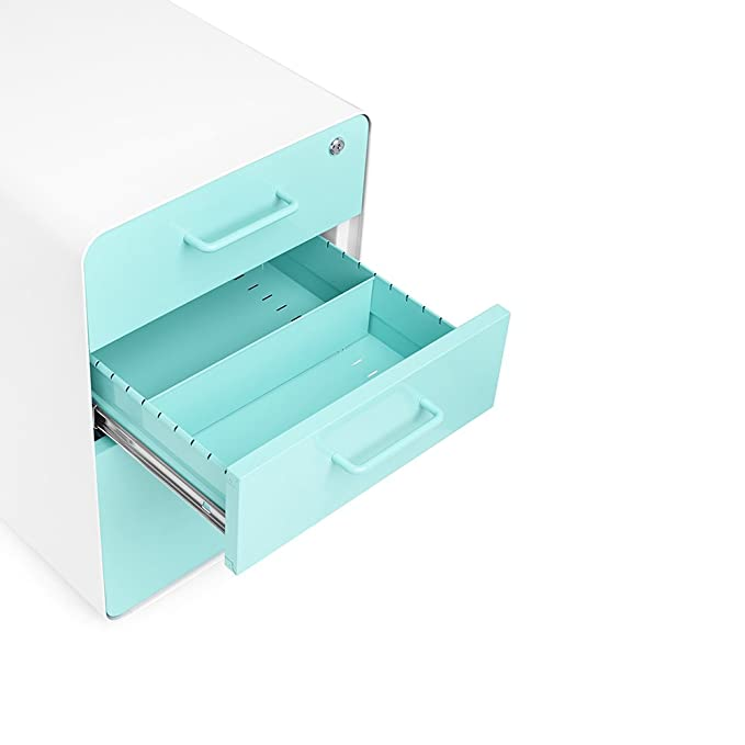 Superbe Amazon.com : Poppin White + Aqua Stow Rolling 3 Drawer File Cabinet : Office  Products