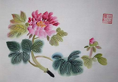 Jiangnanruyi Art Peony Flower Original Hand Painted Artwork Unframed Chinese Brush Ink and Wash Watercolor Painting Drawing Decorations Decor for Office Living Room Bedroom (20×15inch, Artwork-03)